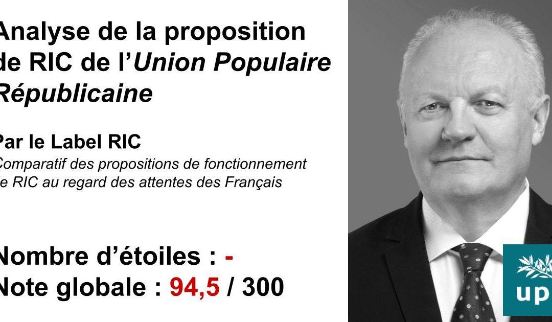 Analyse du RIC de l'UPR (François Asselineau)